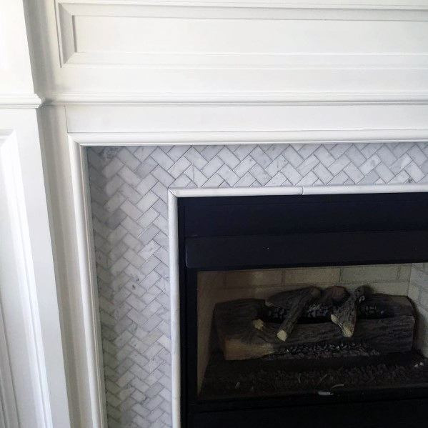 Small Herringbone Marble Unique Fireplace Tiles