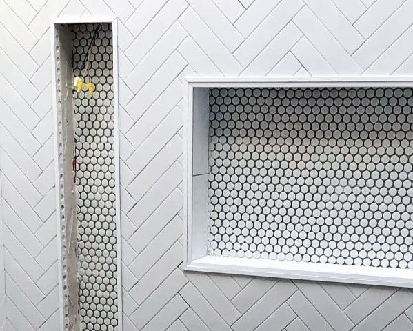 Small Hexagon And Herringbone Tiles Shower Niche Interior Design