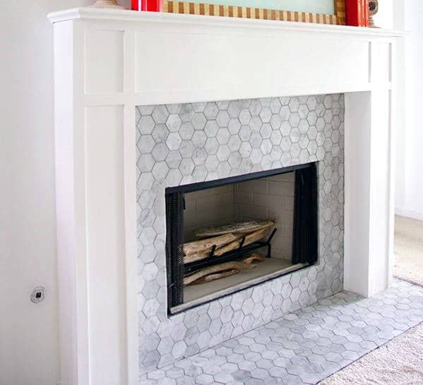 Small Hexagon Home Design Ideas Fireplace Tile