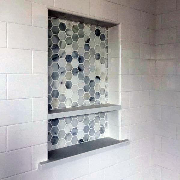 Small Hexagon Shower Niche Ideas With White Subway Tiles