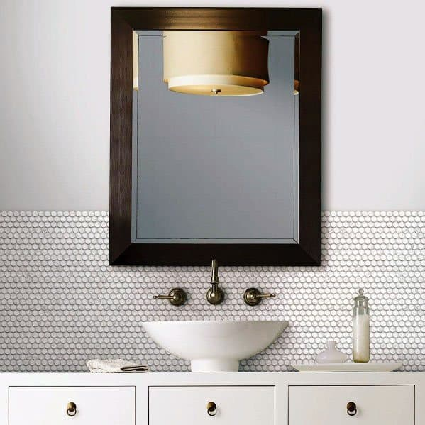Small Hexagon Tiles Bathroom Backsplash Ideas