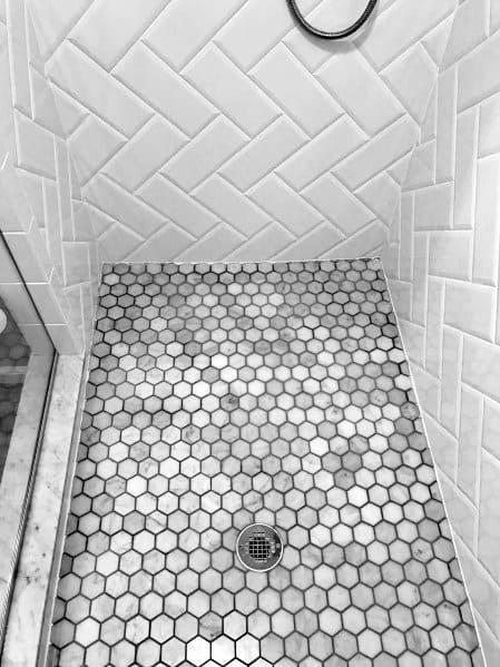 Genial Small Hexagon White And Grey Shower Floor Tile Ideas