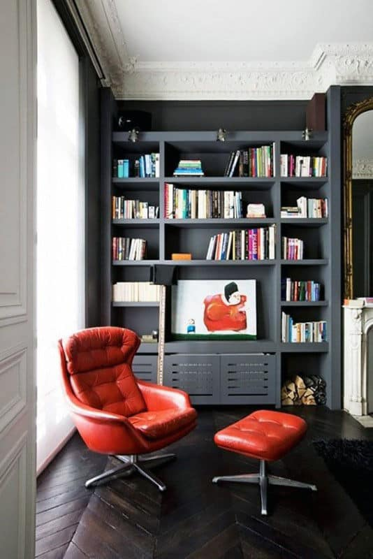 Small Home Library Room With Red Chair & 90 Home Library Ideas For Men - Private Reading Room Designs