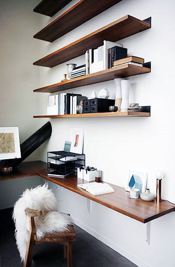 Small Home Office Ideas Design Inspiration With Wall Shelves