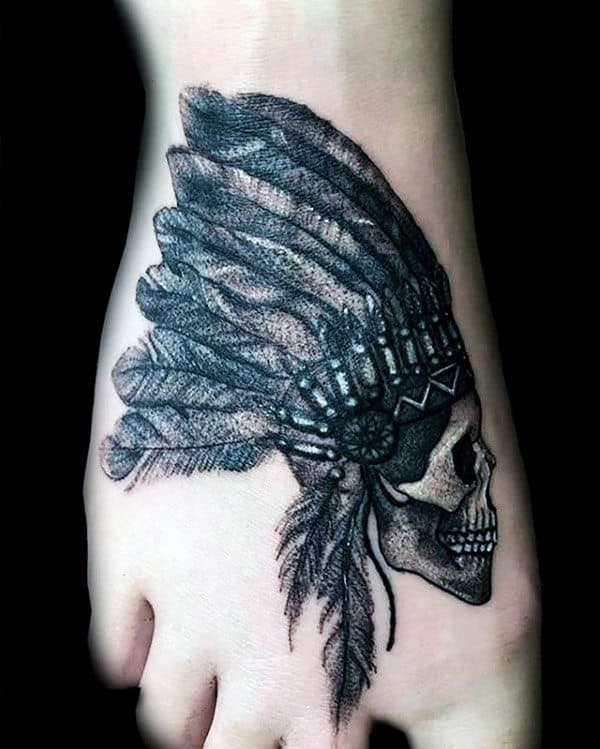 80 indian skull tattoo designs for men cool ink ideas for Mens foot tattoos