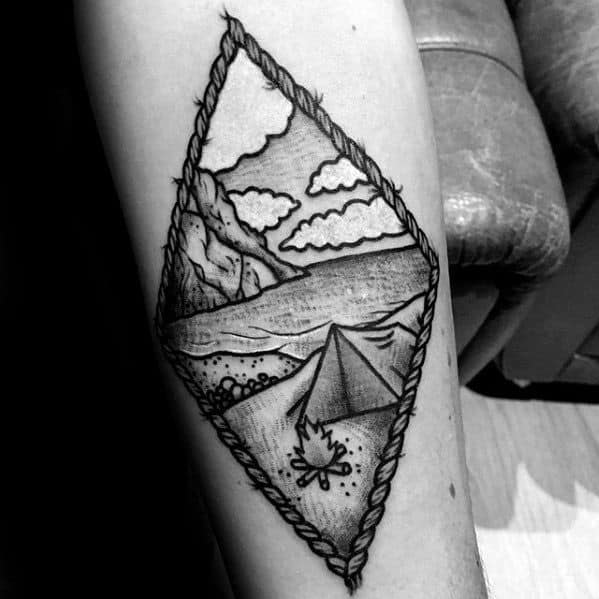 Small Inner Forearm Cool Male Tent Tattoo Designs