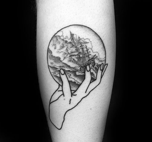 Small Inner Forearm Male Tattoo With Crystal Ball Design