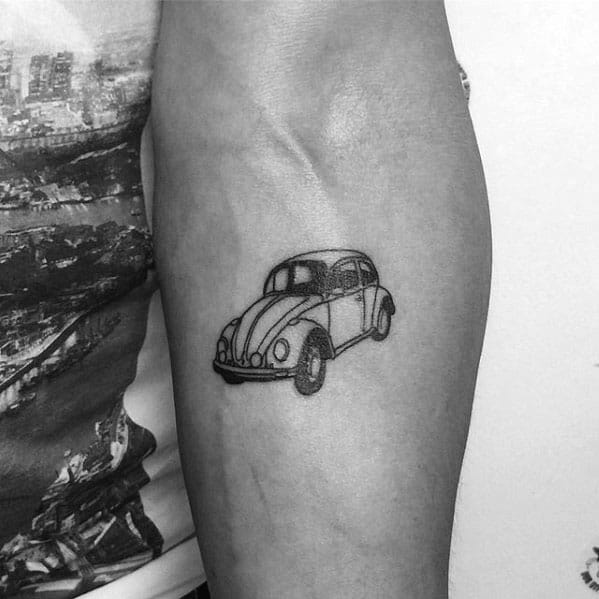 Small Inner Forearm Mens Tattoo With Volkswagen Wv Design