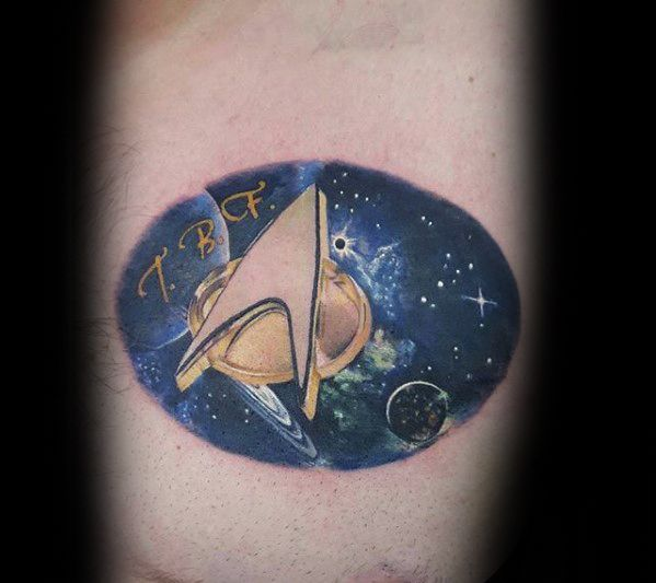 Small Inner Forearm Outer Space Male Star Trek Tattoo Ideas