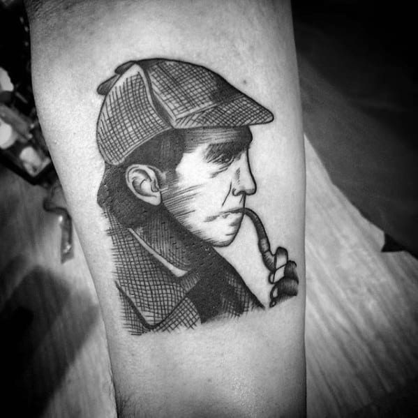 Small Inner Forearm Sherlock Holmes Tattoo Ideas For Males