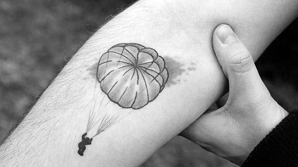 Small Inner Forearm Unique Mens Parachute Tattoos