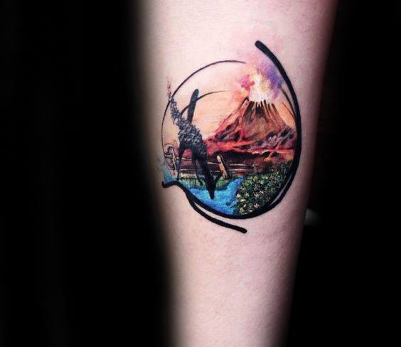 Small Inner Forearm Volcano Guys Tattoos