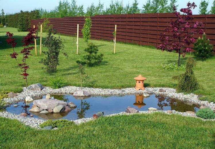 small irregular shaped backyard pond landscaping