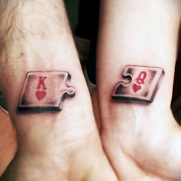 Small King And Queen Puzzle Heart Tattoo For Males On Wrists