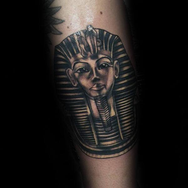 Small King Tutankhamun Male Inner Forearm Tattoos