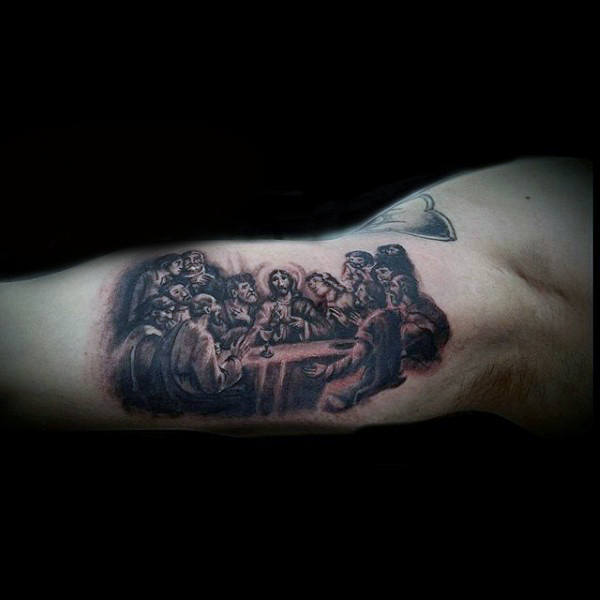 Small Last Supper Bicep Male Tattoos