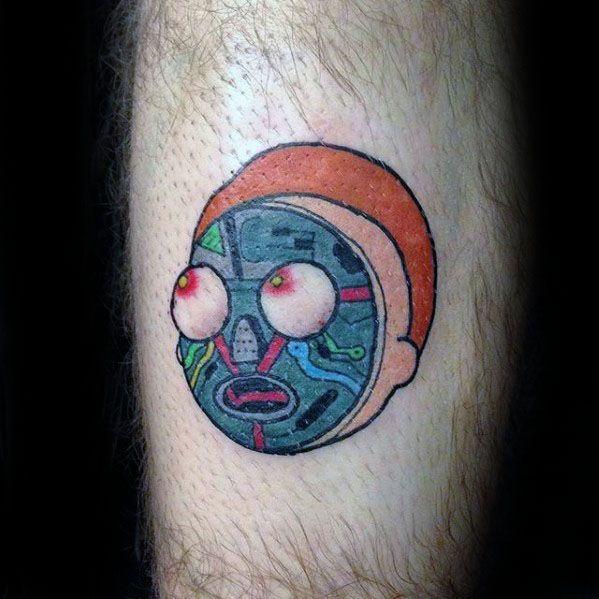 Small Leg Amazing Mens Rick And Morty Tattoo Designs