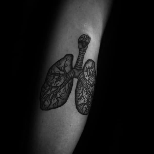 Small Leg Anatomical Lung Tattoo Ideas For Males
