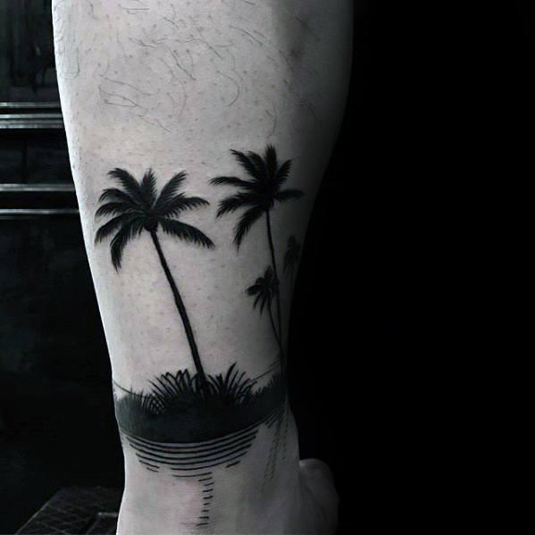 Small Leg Band Palm Trees Beach Unique Mens Tattoo Design Ideas