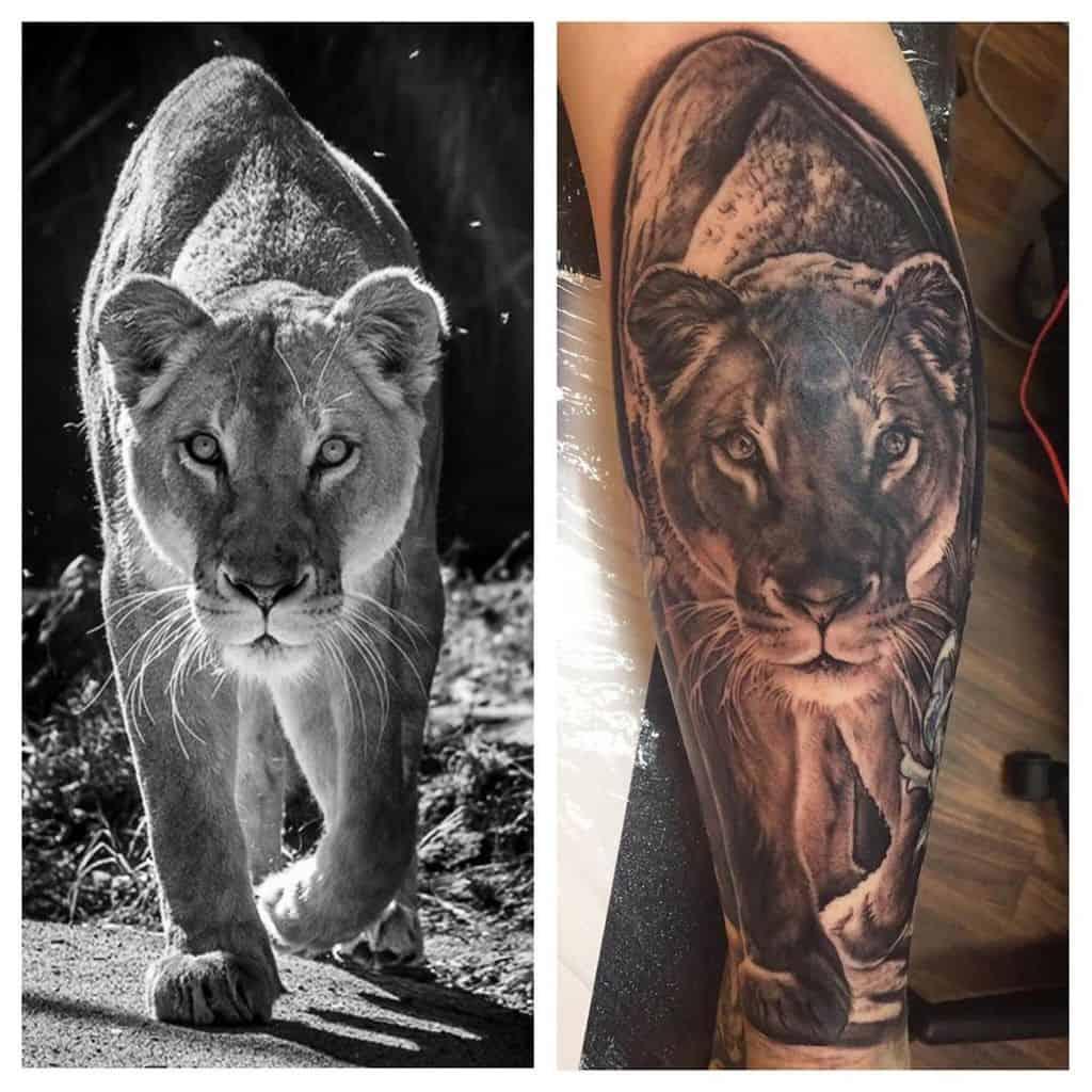 Small Leg Black Grey Lioness Tattoo
