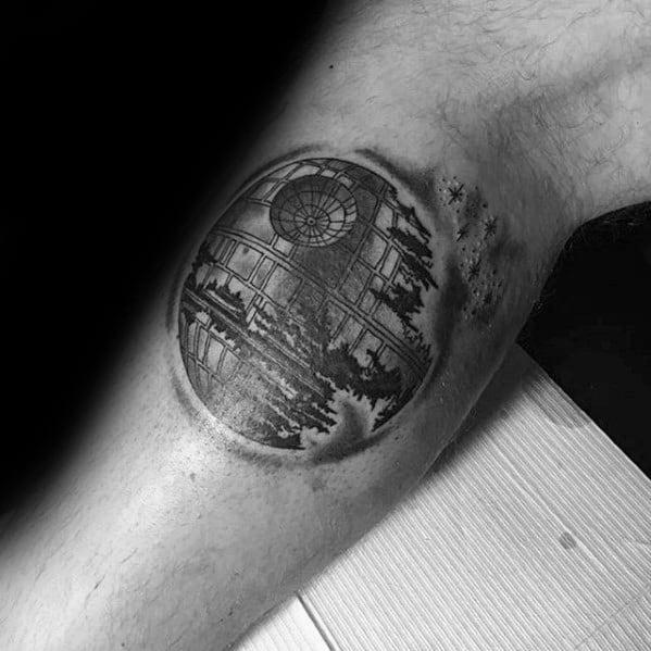 Small Leg Calf Death Star Tattoo Design On Man