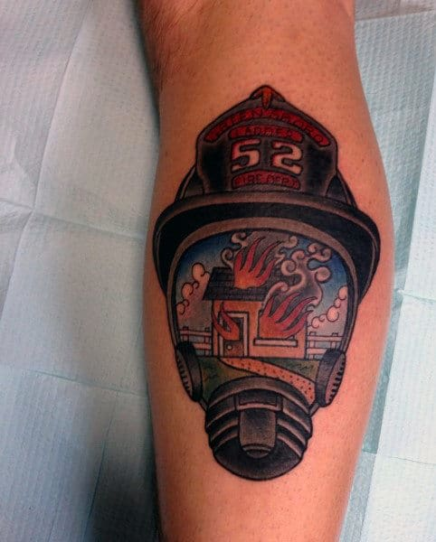 Small Leg Calf Firefighter Men's Helmet Tattoos