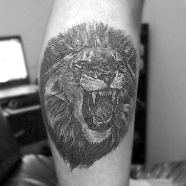 Small Leg Calf Guys Shaded Lion Head Tattoo Designs