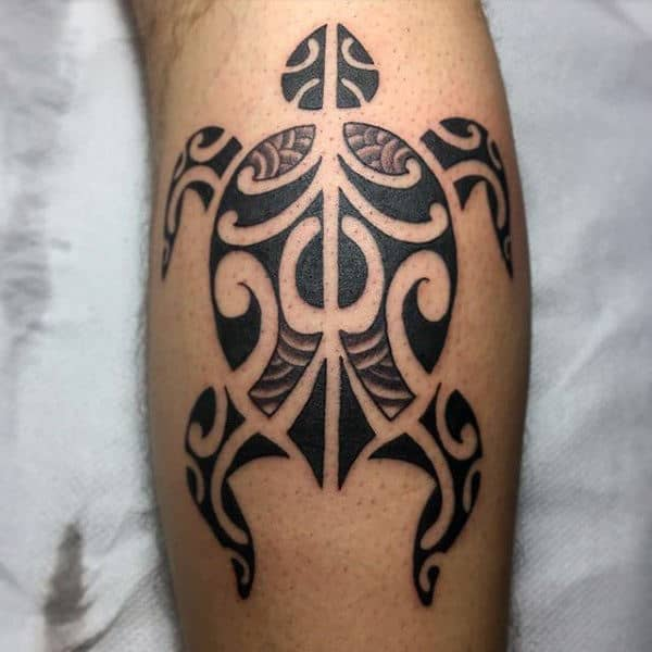 Small Leg Calf Male Tribal Turtle Tattoo Inspiration