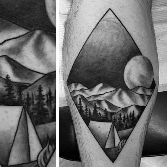 Small Leg Calf Shaded Mens Tattoo Camping Design