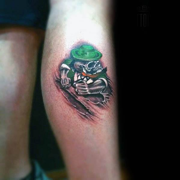 Small Leg Leprechaun Tattoo Designs For Guys