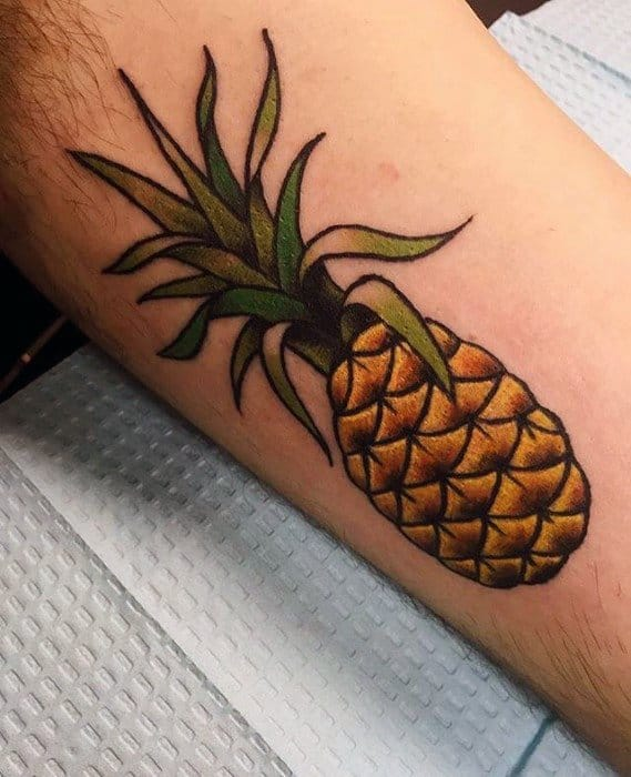 Small Leg Pineapple Tattoo Design Ideas For Males