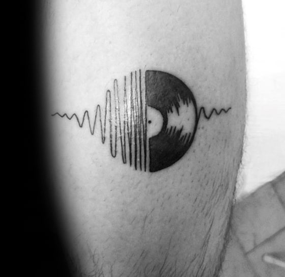 Small Leg Sound Wave Gentleman With Vinyl Record Tattoo
