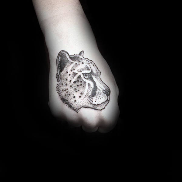 Small Leopard Male Hand Tattoo Design