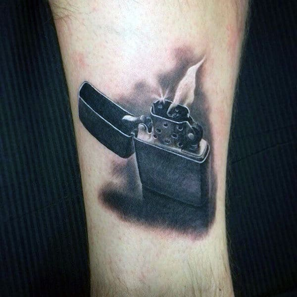 Small Lighter Flame Tattoo For Men Above Wrist