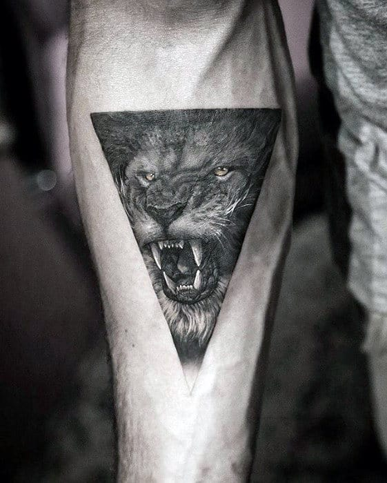 Small Lion Head Roaring Triangle Awesome Inner Forearm Tattoos For Men