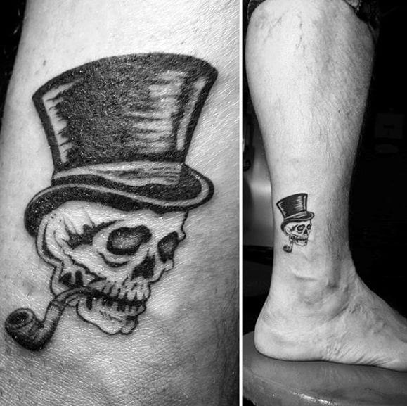 Small Lower Leg Mens Skull With Top Hat Tattoo Design Ideas