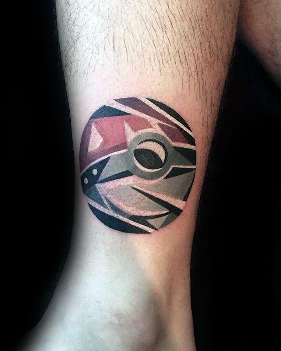 Small Lower Leg Pokemon Ball Awesome Ink Gamer Tattoos For Men
