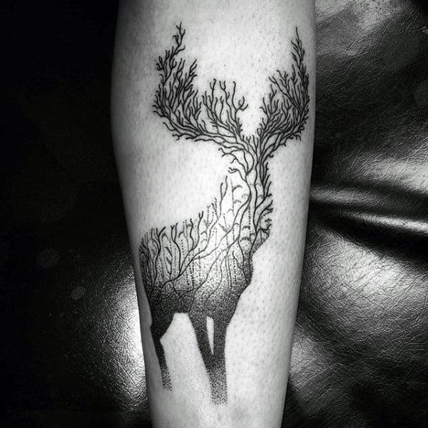 Small Male Deer Hunter Tattoos