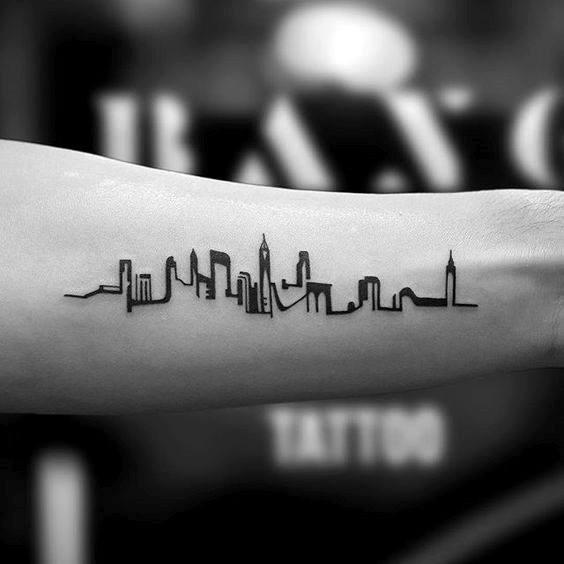 Small Male Inner Forearm Tattoo Of Skyline