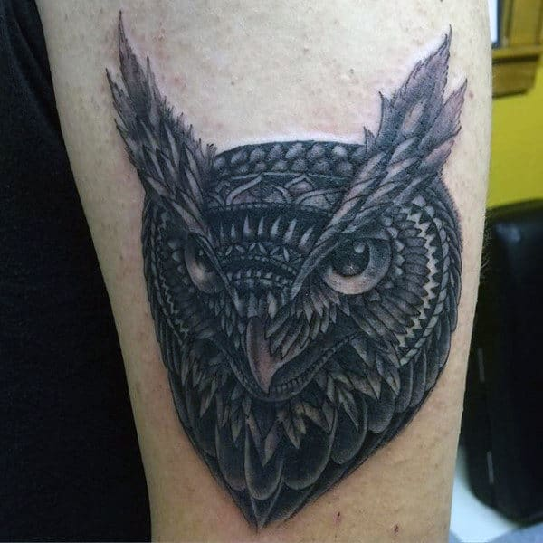 Small Manly Blue Owl Tattoo