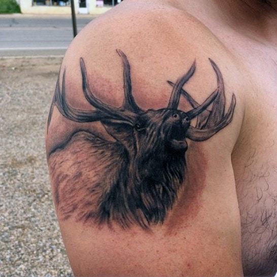 Small Many Men's Hunting Deer Tattoos On Arm