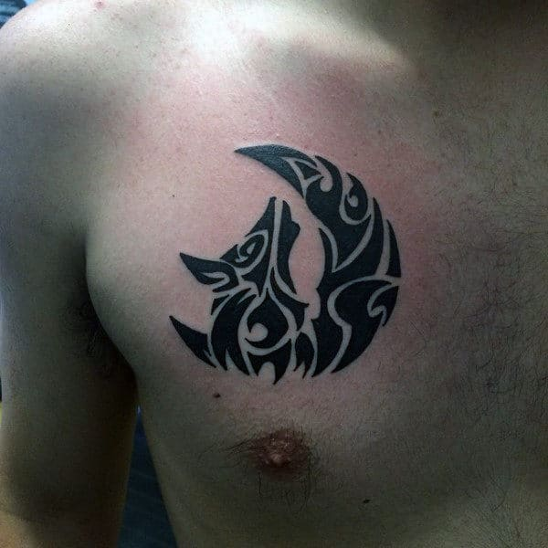 Small Manly Tribal Wolf Moon Chest Tattoos For Males