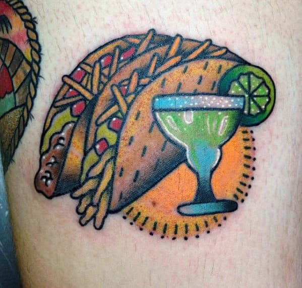 Small Margarita With Two Tacos Mens Tiny Forearm Tattoo