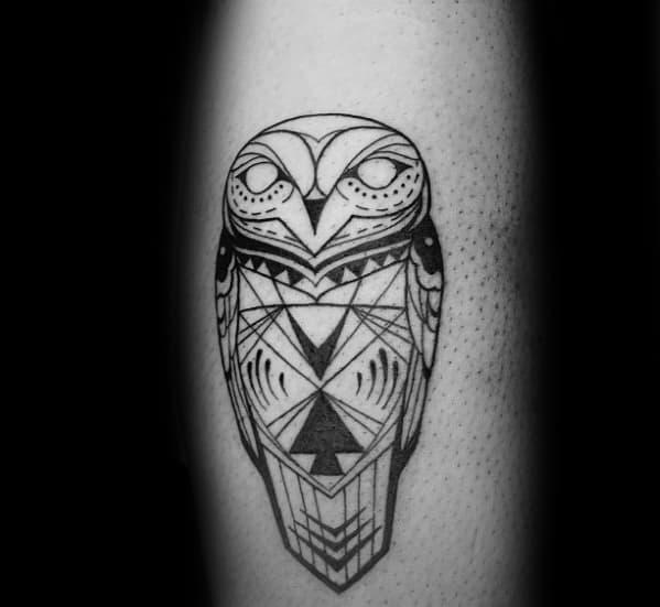 Small Masculine Guys Tribal Owl Geometric Tattoo Designs