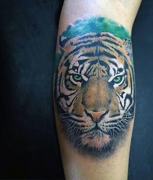 Small Masculine Tiger Face Tattoo Designs