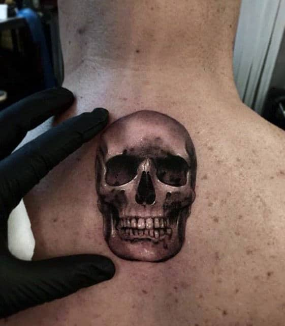 Small Mens 3d Upper Back Skull Tattoo