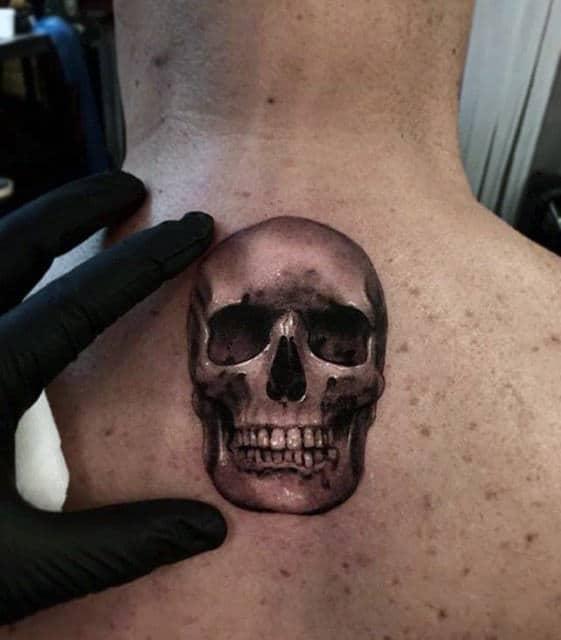 Small Mens 3d Upper Back Skull Tattoo
