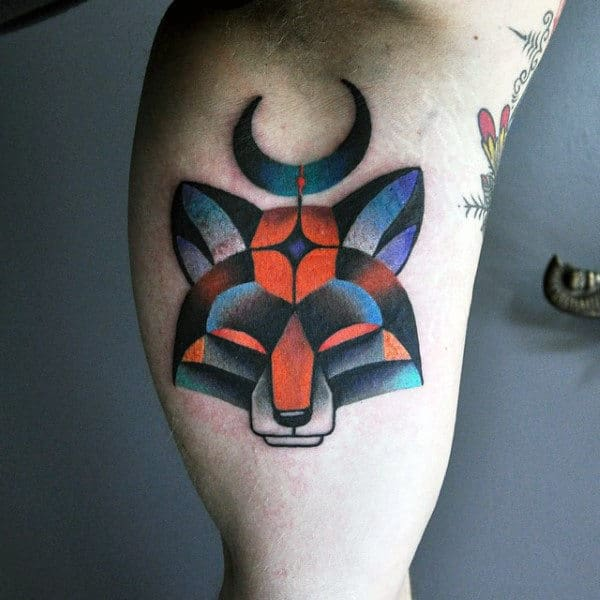 Small Mens Amazing Colorful Fox Bicep Tattoo
