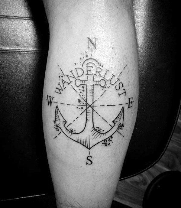 Small Mens Anchor Compass Wanderlust Leg Calf Tattoo