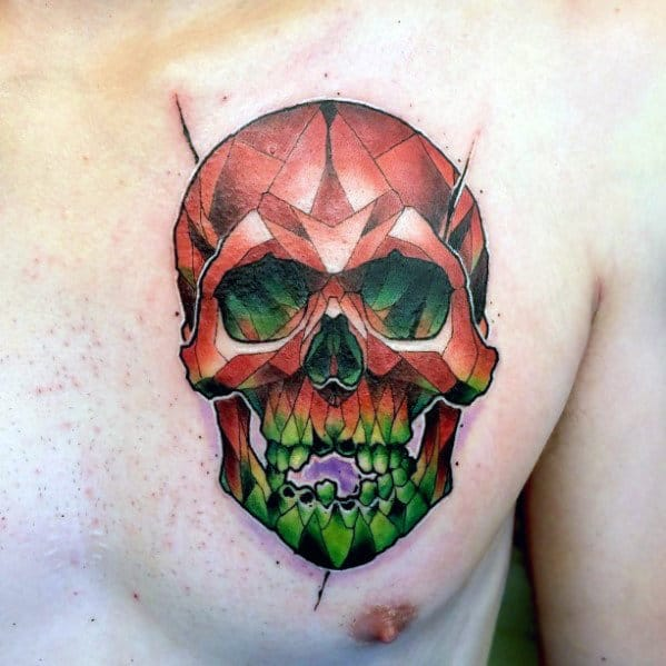 Small Mens Colorful Skull Chest Tattoo